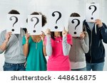 students hiding there face with ... | Shutterstock . vector #448616875