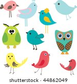 Stock vector set of different cute birds 44862049