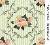 seamless vintage floral...   Shutterstock .eps vector #448627252