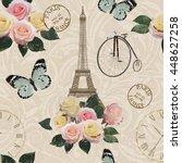 seamless paris travel wallpaper.... | Shutterstock .eps vector #448627258