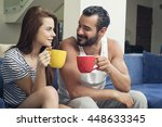 beautiful young couple drinking ... | Shutterstock . vector #448633345