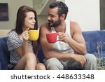 beautiful young couple drinking ... | Shutterstock . vector #448633348