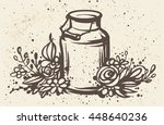 hand drawn milk can with... | Shutterstock .eps vector #448640236