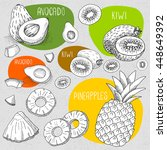 set of stickers in sketch style ... | Shutterstock .eps vector #448649392