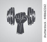 hand holding dumbbell  | Shutterstock .eps vector #448662262