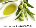 bottle of olive oil and green... | Shutterstock . vector #448685986