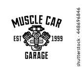 muscle car garage retro style... | Shutterstock .eps vector #448696846