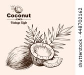 vector background with  coconut ... | Shutterstock .eps vector #448702162