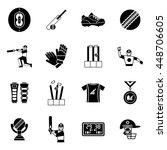 cricket black icon set man... | Shutterstock .eps vector #448706605