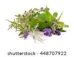 Herbs From Garden On White...