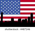Boston skyline against American Flag illustration