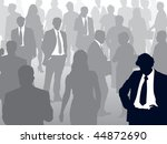 Crowd of people walking on a street and one man selected. - stock vector