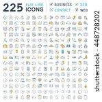 set vector line icons in flat... | Shutterstock .eps vector #448728202