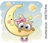 cute cartoon owl girl on the... | Shutterstock .eps vector #448731946