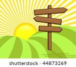 wooden sign on hill   vector... | Shutterstock .eps vector #44873269