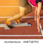 athlete ready on the starting... | Shutterstock . vector #448738792