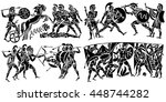 big collection of silhouettes... | Shutterstock .eps vector #448744282