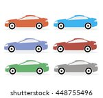 set of icons of cars in a... | Shutterstock .eps vector #448755496