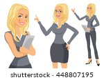 business woman blonde. girl.... | Shutterstock .eps vector #448807195