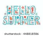 hello summer background. sea...   Shutterstock .eps vector #448818586