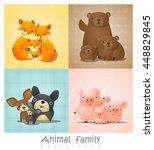 set of cute animal family... | Shutterstock .eps vector #448829845