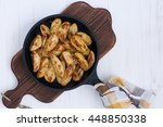 delicious hot potatoes.top view | Shutterstock . vector #448850338