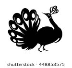 peacock silhouettes isolated.... | Shutterstock .eps vector #448853575