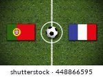 portugal vs. france flags on a... | Shutterstock . vector #448866595