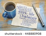Stock photo work life balance word cloud handwriting on a napkin with a cup of coffee 448880908