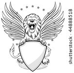 roaring winged lion with shield ... | Shutterstock .eps vector #44888518