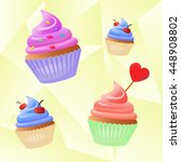 four bright vector muffin with... | Shutterstock .eps vector #448908802
