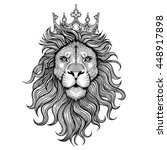 Stock vector vector black and white tattoo king lion illustration 448917898