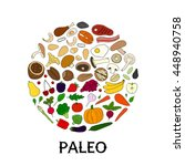 hand drawn paleo diet foods in... | Shutterstock .eps vector #448940758