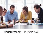 photo editors discussing over...   Shutterstock . vector #448945762
