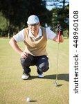 portrait of golfer crouching... | Shutterstock . vector #448960108