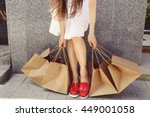 young brunette woman with... | Shutterstock . vector #449001058