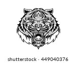 hand drawn tiger head tattoo... | Shutterstock .eps vector #449040376