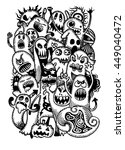 vector set of scary funny... | Shutterstock .eps vector #449040472