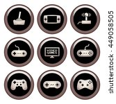 video game icons copper button... | Shutterstock . vector #449058505