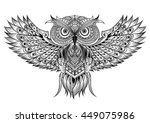 Vector Hand Drawn Owl. Black...