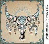 fantastic skull of a bull in... | Shutterstock .eps vector #449091112