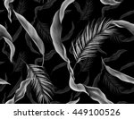 tropical monstera and palm... | Shutterstock . vector #449100526