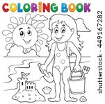 coloring book girl playing on... | Shutterstock .eps vector #449167282