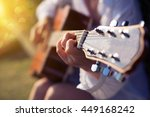 female fingers playing guitar... | Shutterstock . vector #449168242