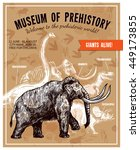 Sketch hand drawn invitation to museum of prehistory poster with mammoth and dinosaurs on beige background with rock paintings and footprints vector illustration