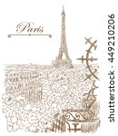 hand drawn view of the eiffel... | Shutterstock .eps vector #449210206