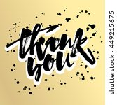 thank you card. hand lettering... | Shutterstock .eps vector #449215675