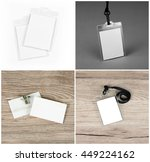 set of id cards on wooden  grey ... | Shutterstock . vector #449224162