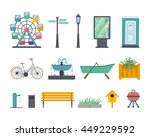 vector set of park elements ... | Shutterstock .eps vector #449229592