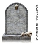 Tombstone With Skull Isolated...